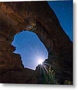 Moon Through Arches Windows Metal Print