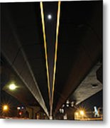 Moon Visible Between The Flyover Gap Metal Print