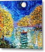 Moonlight Fishing Metal Print