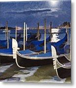Moonlight Gondolas - Venice Metal Print
