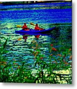Moonlight Kayak Ride Along The Coastline Of The Lachine Canal Quebec Sea Scenes Carole Spandau Metal Print