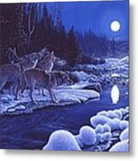 Moonlight Visitors Metal Print