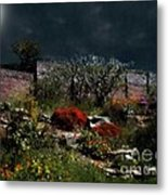 Moonlit Hillside In Africa Metal Print