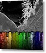 Moonlit Mountainside Behind Rainbow Fence Metal Print