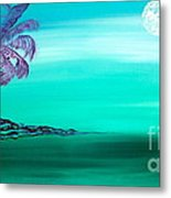Moonlit Palm Metal Print