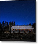 Moonlit Starscape At The Old Smokehouse Metal Print