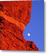 Moonrise Balanced Rock Arches National Park Utah Metal Print