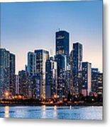 Moonrise Over Chicago Skyline Metal Print