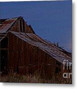 Moonrise Over Decrepit Barn Metal Print
