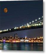 Moonrise Over Manhattan Metal Print