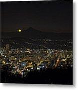 Moonrise Over Portland Oregon Cityscape Metal Print