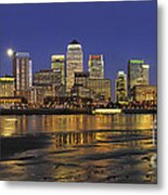 Moonrise Over River Thames Flowing Past Canary Wharf Metal Print