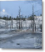 Moonset At Mammoth Terrace-yellowstone Metal Print