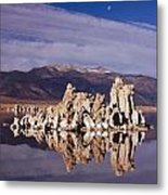 Moonset Over Tufa Metal Print