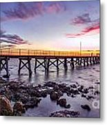 Moonta Bay Jetty Sunset Metal Print by Shannon Rogers