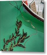 Moored Boat And Kelp Metal Print