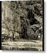 Moored Boat By The River In Tam Coc Metal Print