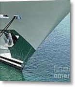 Moored Ships Bow With Retracted Anchor Abstract Metal Print