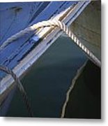 Mooring Ropes On A Fishing Boat Metal Print