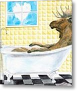 Moose Bath, Moose Painting, Moose Print, Bath Painting, Bath Print, Cottage Art Metal Print