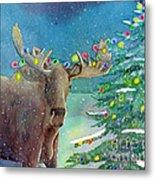 Moosey Christmas Metal Print
