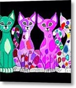 More Colorful Kitties Metal Print
