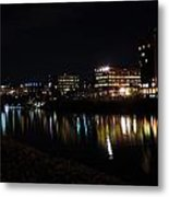 Morgantown Skyline At Night From The Waterfront Metal Print
