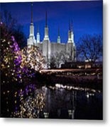 Mormon Church At Christmas Metal Print