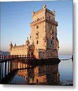 Morning At Belem Tower In Lisbon Metal Print