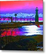 Morning At The Algoma Light An Abstract Metal Print