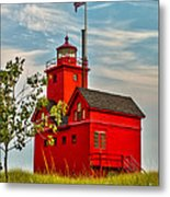 Morning At The Big Red Lighthouse Metal Print