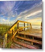 Morning Beach Walk Metal Print by Debra and Dave Vanderlaan
