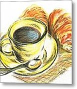 Morning Coffee- With Croissants Metal Print