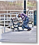 Morning Exercise On The Boardwalk Metal Print