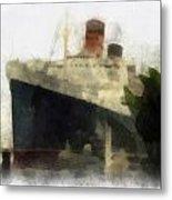 Morning Fog Queen Mary Ocean Liner 01 Photo Art 01 Metal Print