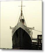 Morning Fog Queen Mary Ocean Liner Bow 02 Long Beach Ca Metal Print