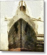 Morning Fog Queen Mary Ocean Liner Bow 03 Long Beach Ca Photo Art 02 Metal Print