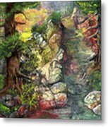 Morning Forest Hike Metal Print
