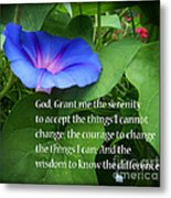Morning Glory Serenity Prayer Metal Print