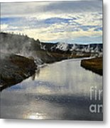 Morning In Upper Geyser Basin In Yellowstone National Park Metal Print