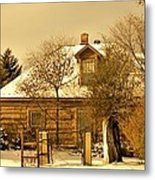 Morning Light Log House Metal Print