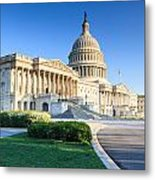 Powerful - Washington Dc Morning Light On Us Capitol Metal Print