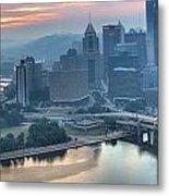 Morning Light Over The City Of Bridges Metal Print