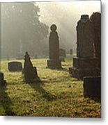 Morning Mist At The Cemetery Metal Print