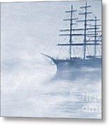 Morning Mists Cyanotype Metal Print