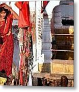 Morning Offerings - Narmada River Source - Amarkantak India Metal Print