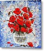 Morning Red Poppies Original Palette Knife Painting Metal Print