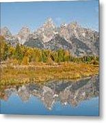 Morning Reflection Of The Teton Range Metal Print