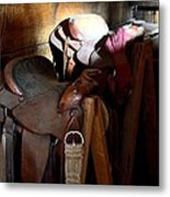 Morning Saddles Metal Print