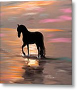 Morning Stroll On The Beach Metal Print